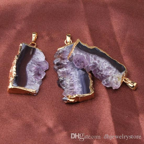 wholesale Silver/Gold Plated Natural Amethyst Quartz Crystal Drusy Gemstone Random Shape Stone Pendulum Pendant Jewelry