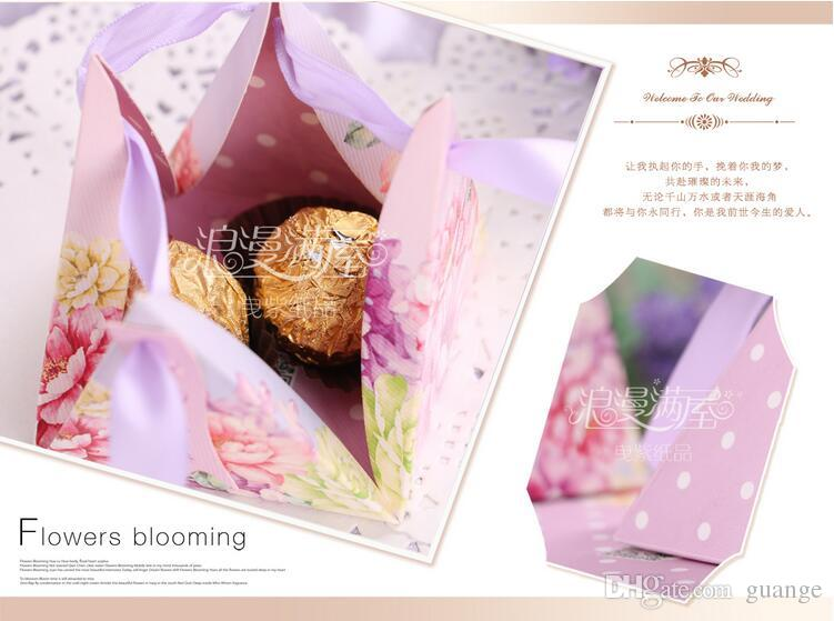 European style romantic purple Pearl paper triangle pyramid Wedding box Candy Box gift boxs wedding baby birthday favour boxes THZ148