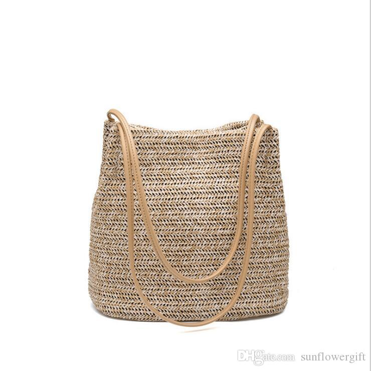 Summer Women Durable Weave Straw Beach Bag Feminine Linen Woven Bucket Bag  Grass Casual Tote Handbags Knitting Rattan Bags Laptop Bags Briefcase From  ... 515d6bc6d88ba