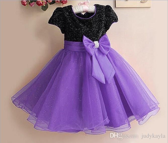 Flower Girl Dress Europe and America Paillette Children Wedding Party Princess Dresses Ribbon Ball Gown Big Bowknot Kids Dress Wear TR32
