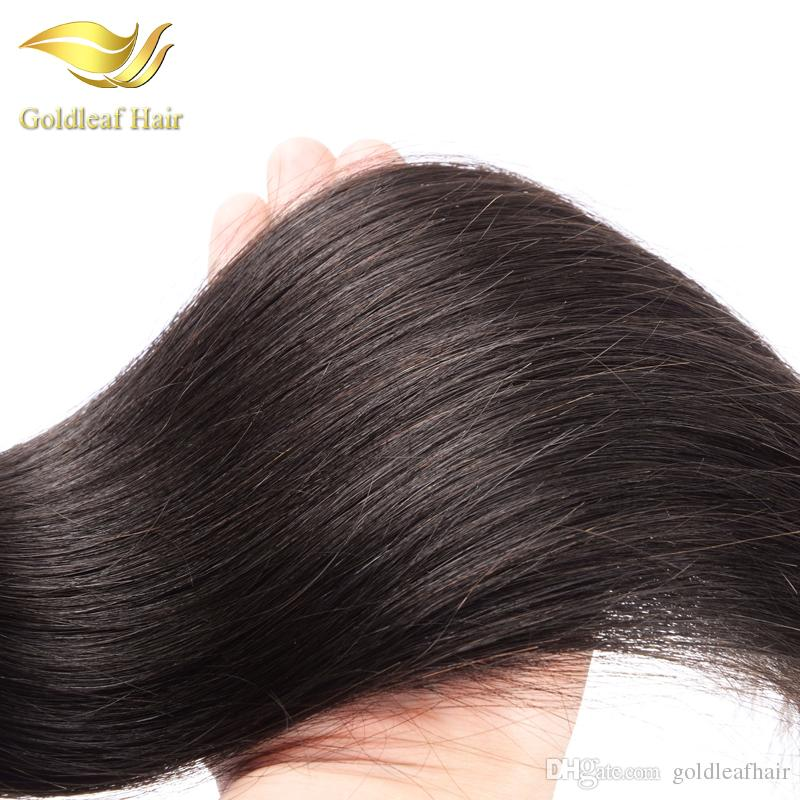 Top quality Goldleaf Malaysian human straight weft Brazialin hair Peruvian hair Indian Mongolian virgin remy hair