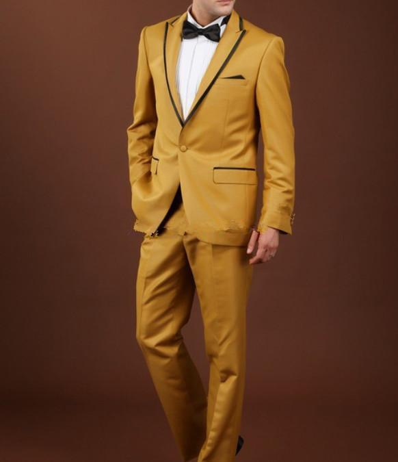 Classic Fit Peak Lapel One Button Gold Groom Tuxedos Wedding Party Groomsman Suit Wedding Party Suit
