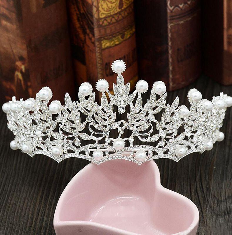 Pearls Diamond Wedding Crowns Bridal Headpieces Headbands Women Crystal Jewelry Tiaras Wholesale Party Quinceanera Birthday Hair Accessories