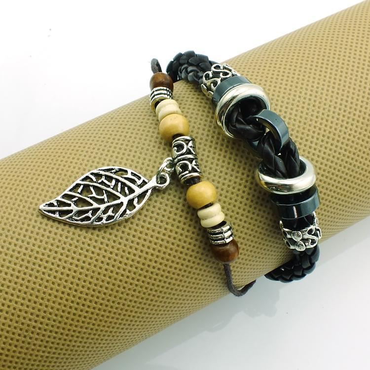 Befordran! DIY Handgjord Infinity Weave Mode Dangle Retro Pierced Leaf Charms För Kvinnor Läderarmband Bangles