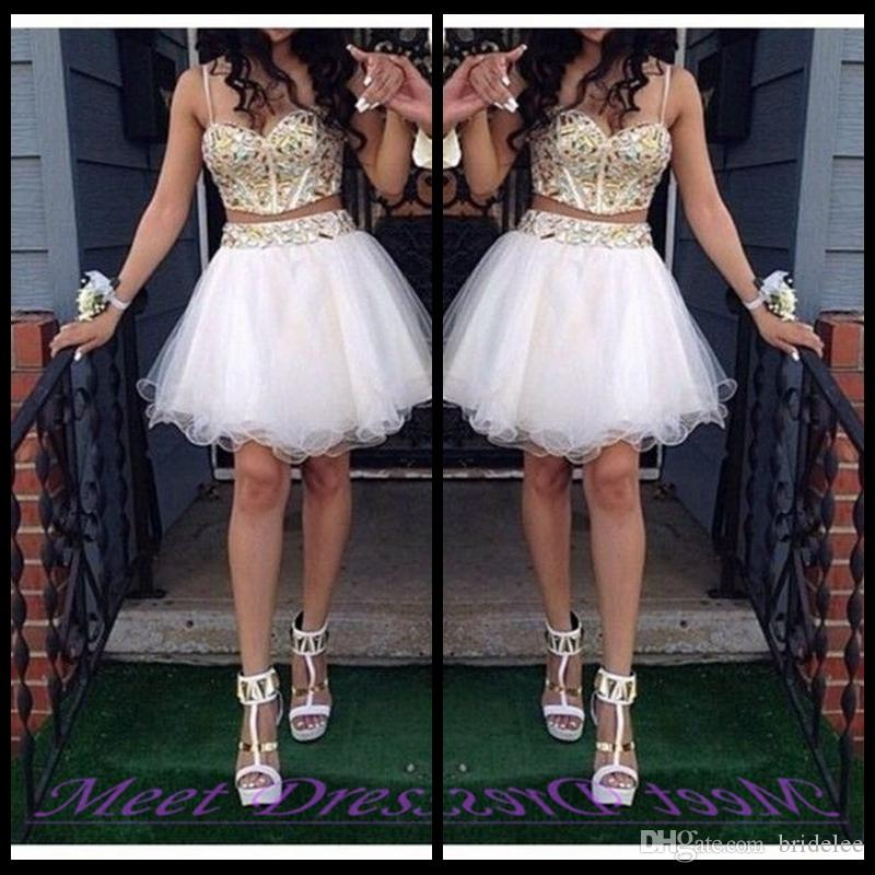 2 Piece Ball Gown Homecoming Dresses With Gold Beaded Straps Tulle White Short Prom Dress Sweet 16 Gown