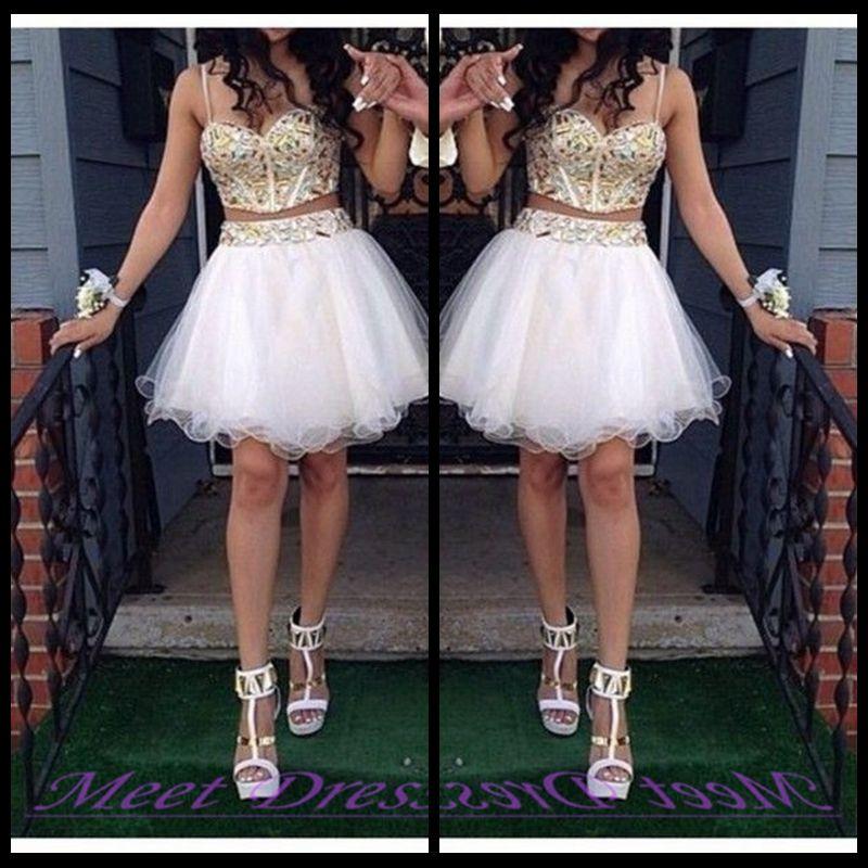 2020 Дешевые Двухструктурные Бальные платья Домашнее платья с золотыми ремнями из бисера Тюль белое короткое платье выпускного вечера Sweet 16 платье