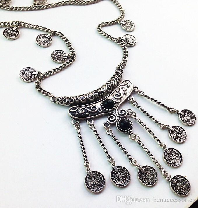 Fashion Vintage Long Coin Necklace Women Jewelry Turquoise Stone Coins Necklaces & Pendants Tassel Link Necklace For Women