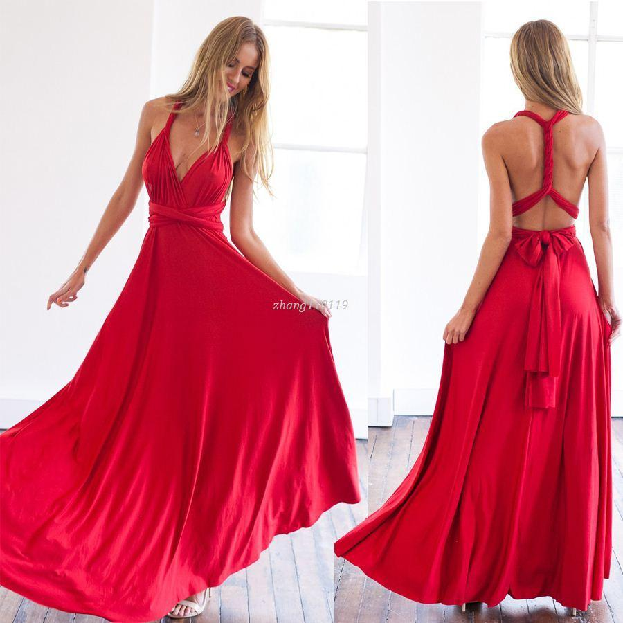 Red Long Summer Dresses with Sleeves