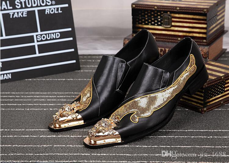 ac290d39674e0 New Handmade Shoes Men Bling Bling Glitter Dress Shoes Fashion Genuine  Leather Slip-On Wedding Shoes Plus Size 38-46