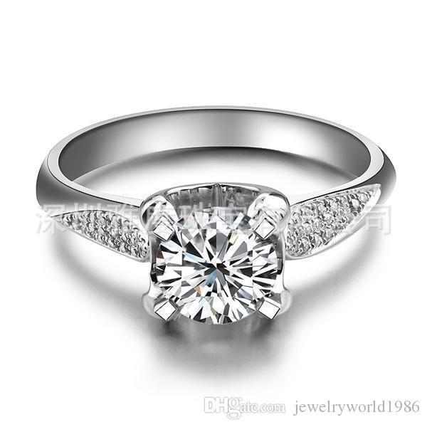 Gratis verzending Fijn 1 CT, PT950 platina sieraden sona diamant dames ring trouwring diamanten ring vrouwen ringen