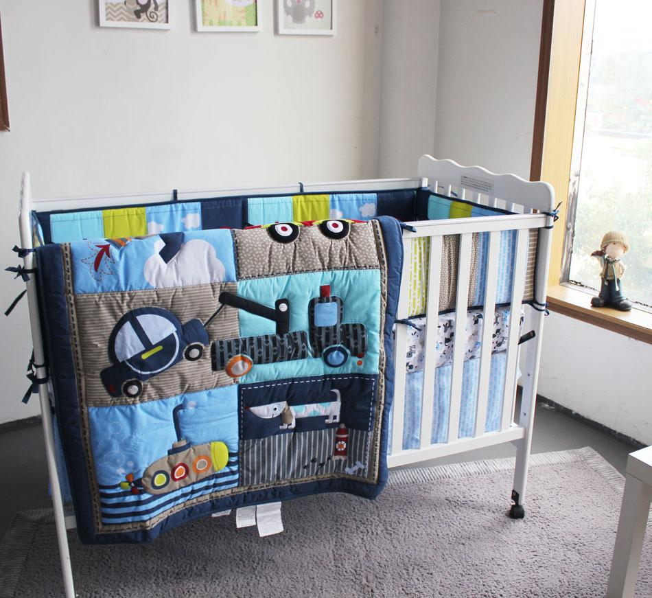 Baby Bedding Set Embroidery 3D Color Matching Submarine