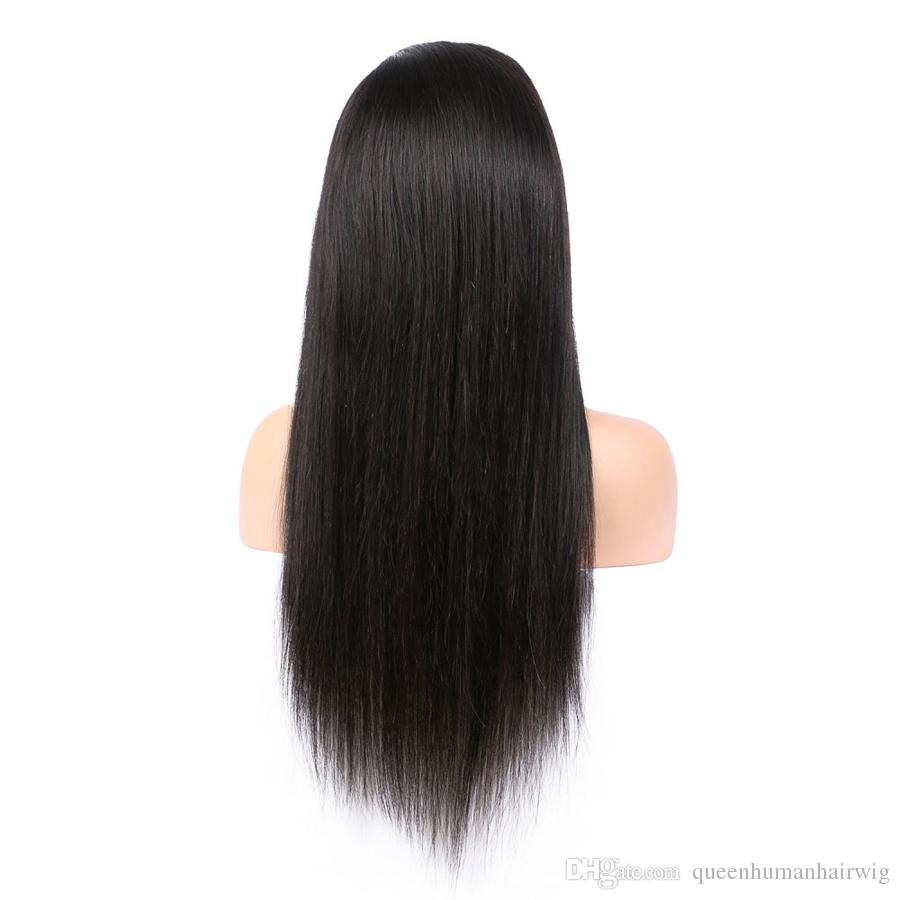 100% Brazilian Human Hair full Lace Wigs Pre Plucked Bleached Knots Remy Hair Natural Color 1# jet black