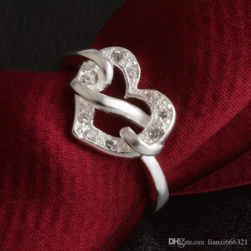 Frete Grátis Novo 925 Sterling Silver moda jóias Nó Coração Branco Diamante Com Pave zircon anel hot vender menina presente 1724