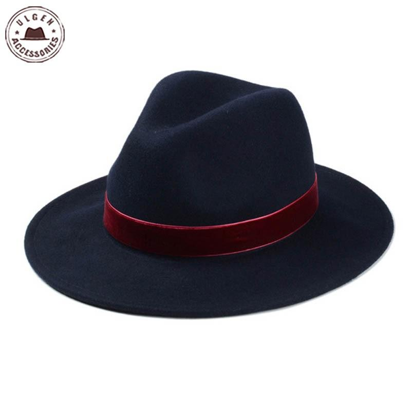 New Classical Winter Flat Brim Fedora Hat 100% Wool Navy Blue Fedora Hats  For Women Mens Fedoras With Burgundy BandHUB052g3600 UK 2019 From  Zph942017 c6cac8c34ab