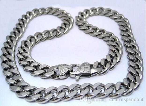 New Husband   Father Gifts Huge 15mm 24   Middle Eastern Men Jewelry Stainless  Steel Cuban Curb Link Chain Necklace Silver Tone Heavy Bulk UK 2019 From ... 633cbca1b