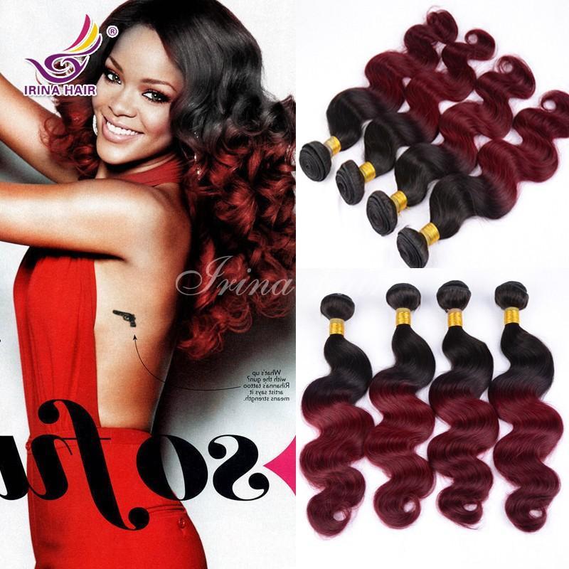 Ирина омбре 100% человеческих волос расширения 1B / Бургундия два тона цвета 12-26 дюймов 3 шт. лот Бесплатная доставка Малайзии девственные волосы объемная волна