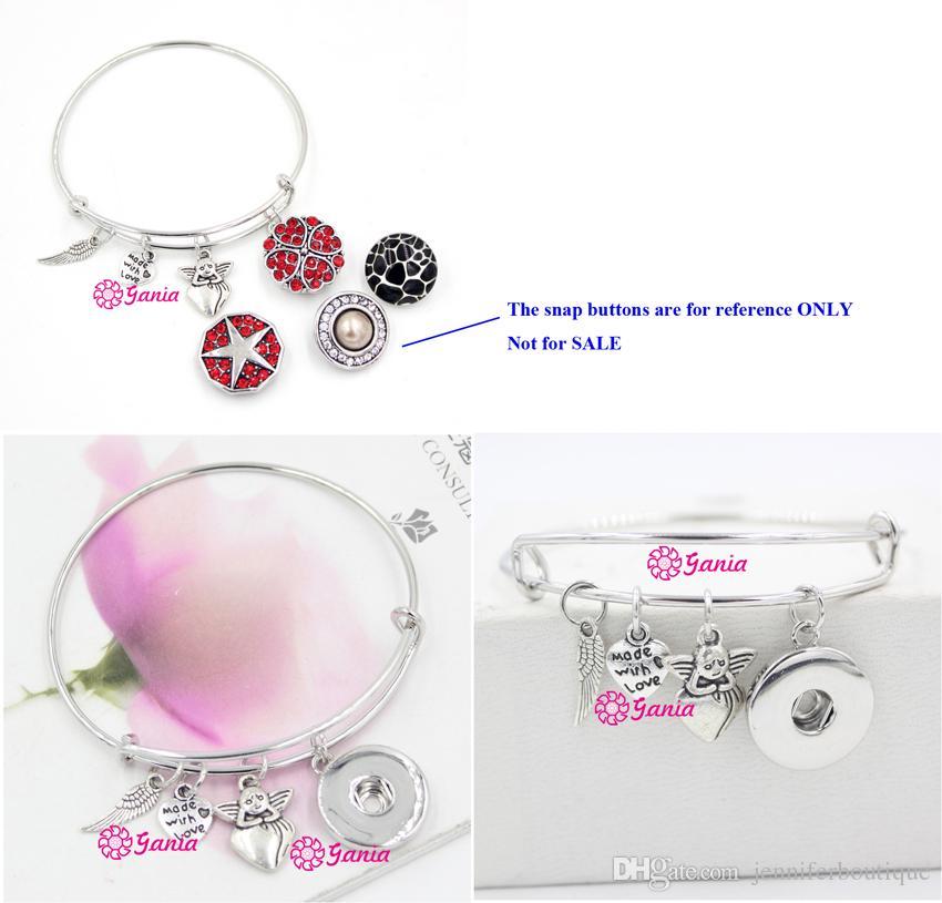 Новое прибытие мода DIY взаимозаменяемые провода браслеты вдохновил Сердце Ангела крыло и Ангел Шарм DIY Оснастки браслеты для женщин подарок ювелирные изделия