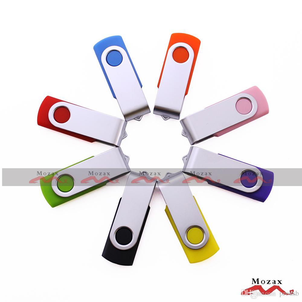 Personalizzato Engrave Logo 10 PZ 64 MB 1 GB 2 GB 4 GB 8 GB 16 GB Girevole USB Drive Memory Flash Metallo Chiave Pendrive Sticks True Storage Regalo di promozione