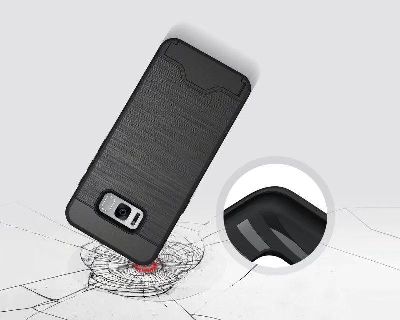 كفر حافظة بطاقات لهاتف سامسونج S8 S8 بلس Armor غطاء خلفي صلب مع واقي مسند لهواتف Samsung S7 S7 Edge J7 J5