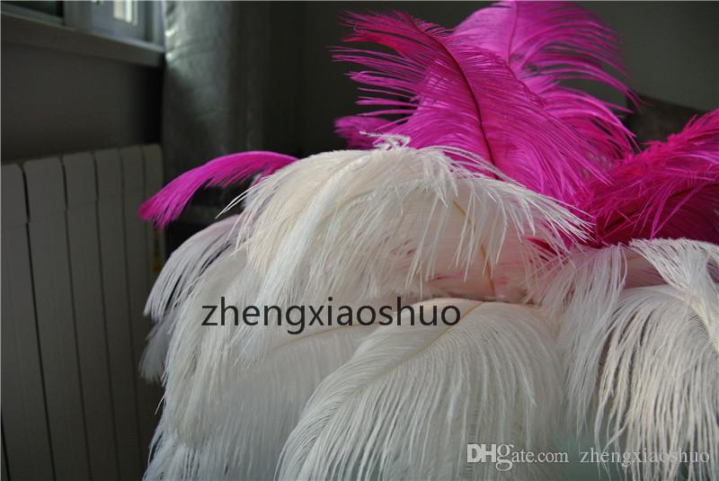 Darmowa Wysyłka 100 sztuk / partia 14-16inch 35-40 cm Hot Pink and White Ostrich Pióra Plumes Ślubne Centrum Ślubne Piór Wystrój Domu Decor