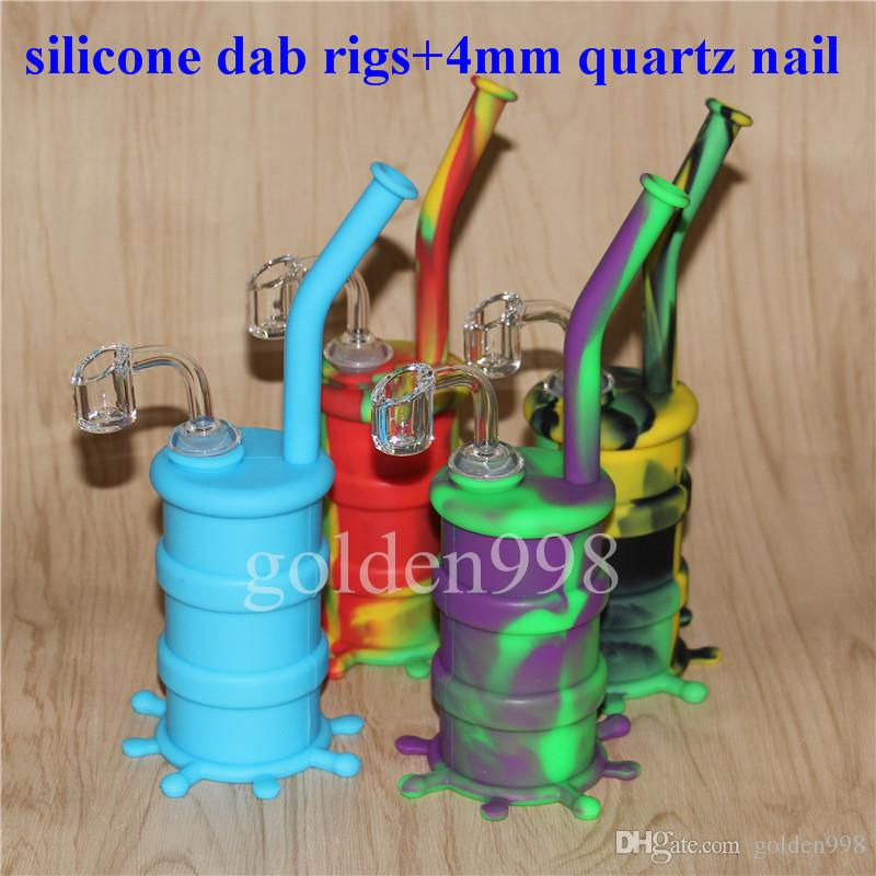 Silicon oil Rigs silicone bubbler bong Silicone Hookah Bongs Silicon Oil Dab Rigs Pipes With Clear 4mm 14mm Male Quartz Nails