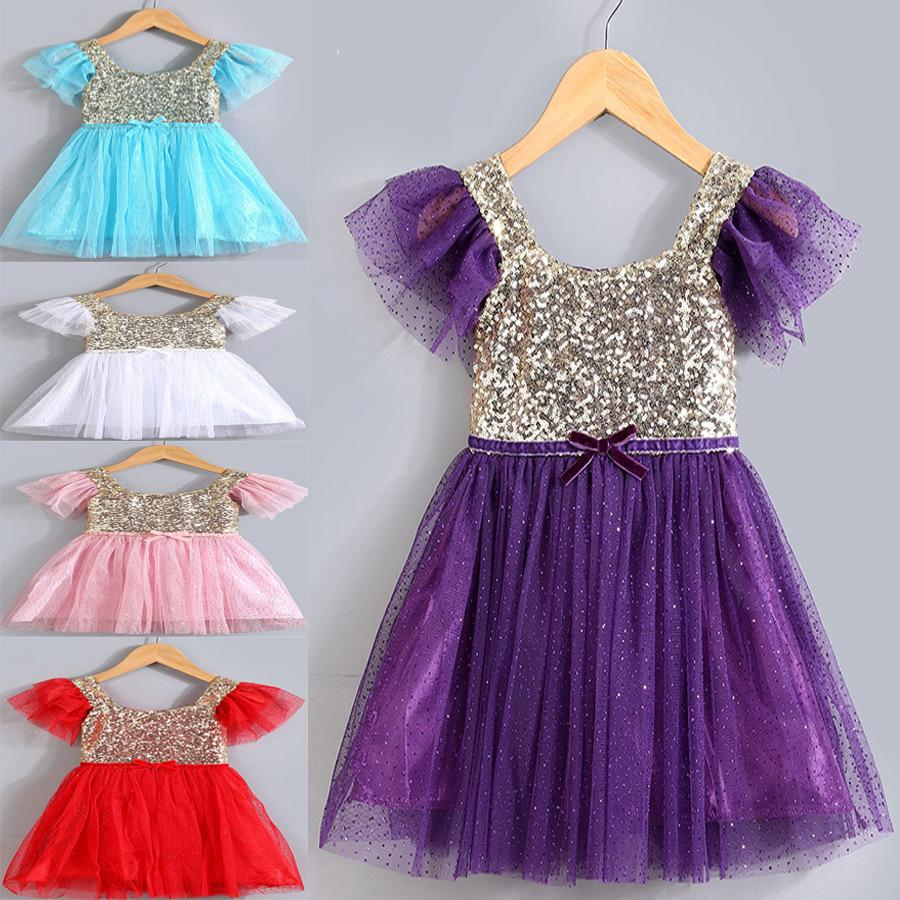 108fa6626fcb5 2016 Summer New Arrival Children Dresses Girl Sparkly Sequin Dress With 5  Colors Cute Baby Girl Lace Tutu Princess Dress Kids Summer Frocks
