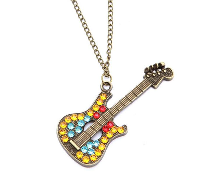 New Fashion Jewelry Pendant Necklaces Retro Multicolor Rhinestone Guitar Gold Plated Fatima Hand Layer Chain Bar Beads Strip Guitar Necklace