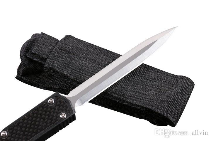 De gama alta Auto Cuchillo táctico D2 Doble filo Hoja de satén Mango de fibra de carbono Caza al aire libre EDC Pocket Survival Gear Con bolsa de nylon táctico