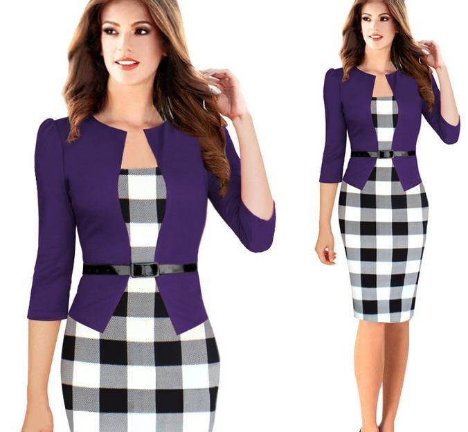 Newest Plaid Design Fasle Two Pieces With Belt Women Work Dress Plus Size Knee Length Long Sleeve Office Ladies Dresses Up to 2XL