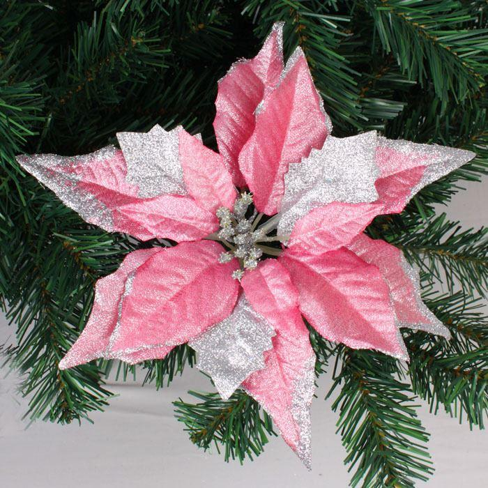 New Arrival Wholesale 25cm Pink Glitter Artificial Christmas ...