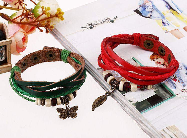 2015 cheap fashion bracelet leather hand made charm bracelet wholesale