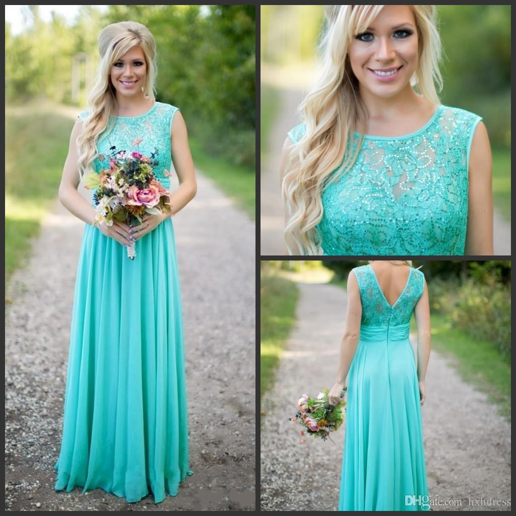 2019 New Arrival Scoop Neckline Chiffon Floor Length Lace V Backless Long Bridesmaid Dresses for Wedding Turquoise Bridesmaid Dresses 102