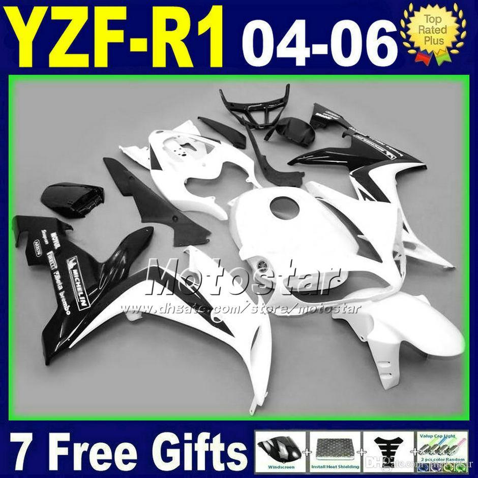 طقم للدراجات النارية لياماها R1 2004 أبيض أسود yzf 2005 2006 R1 04 05 06 fairings 85GB هيكل السيارة البلاستيك مجموعة 7 هدايا