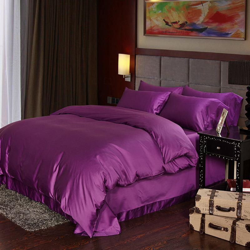 Luxury Deep purple Egyptian cotton bedding sets sheets queen duvet cover king size double quilt bed in a bag bedsheet linen 4pcs gift
