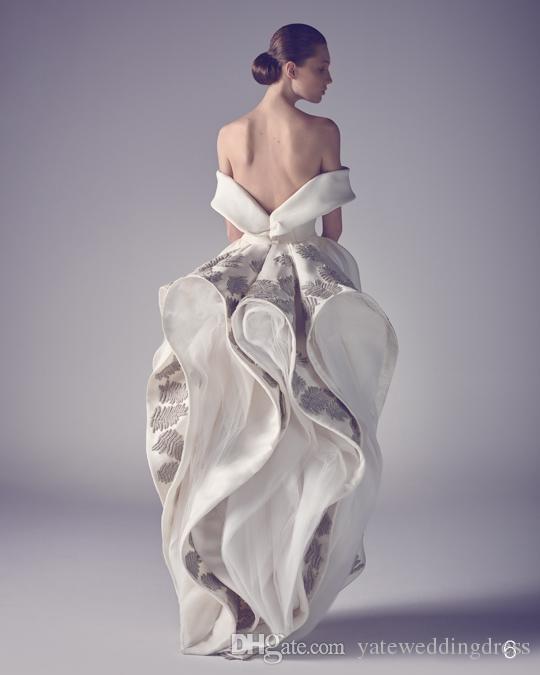 Nouveau Designer Ashi Studio Emboridery Robes De Bal De L'épaule Robe De Soirée En Satin Motif Fleur Sur Mesure Dress Sur Le Dos Zipper