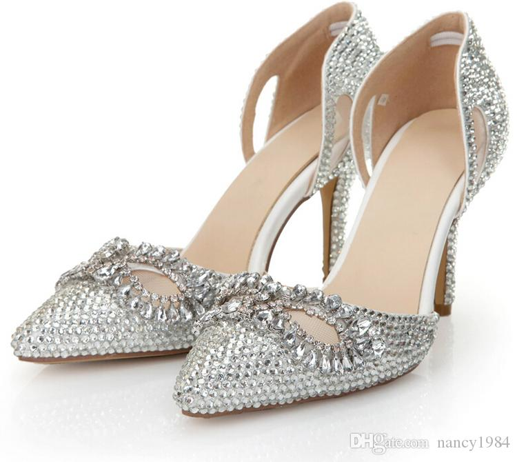 Silver Rhinestone Heels Pointed Toe Bling Cinderella Shoes Size 40 41 8cm Bridal Dress Shoes Nightclub Crystal Women Prom Shoes