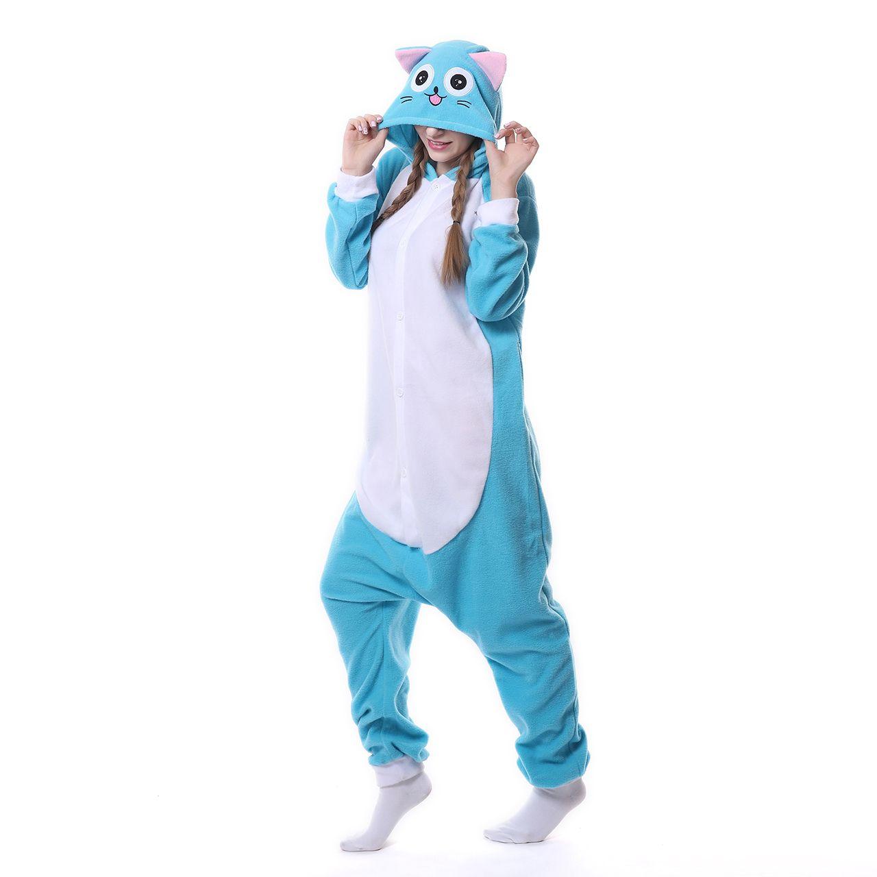 Adult Cosplay Anime Cartoon Onesie Pajamas kigurumi Halloween Costumes Sleepwear Happy Habib Cat