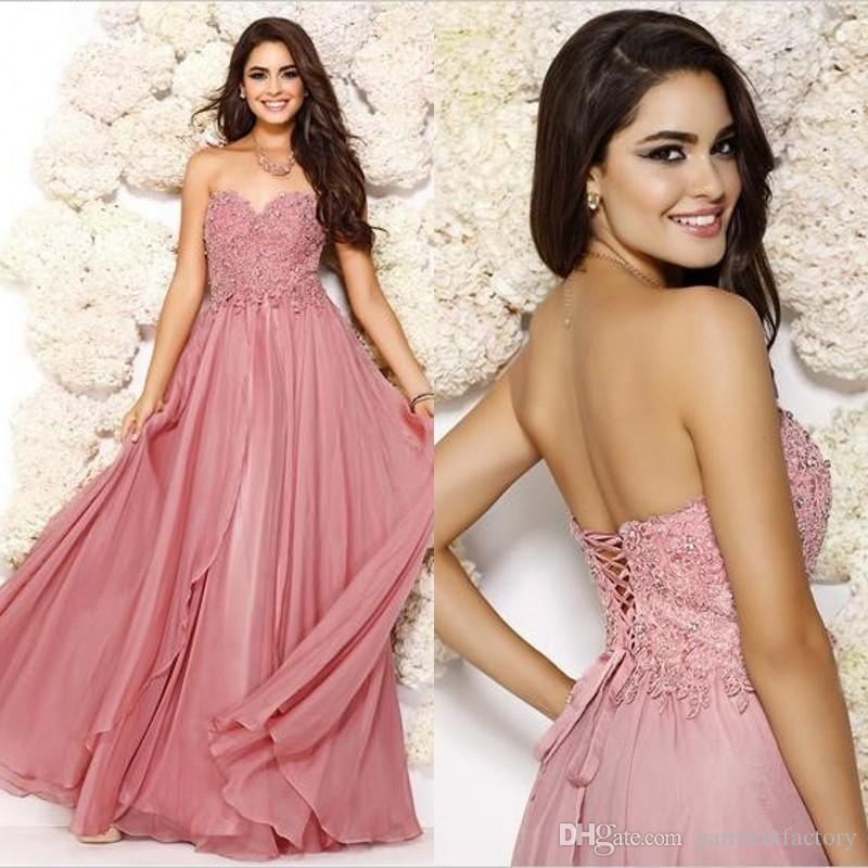 Dusty Rose Pink Prom Dresses Shail K 2015 Spring Sweetheart Neckline ...