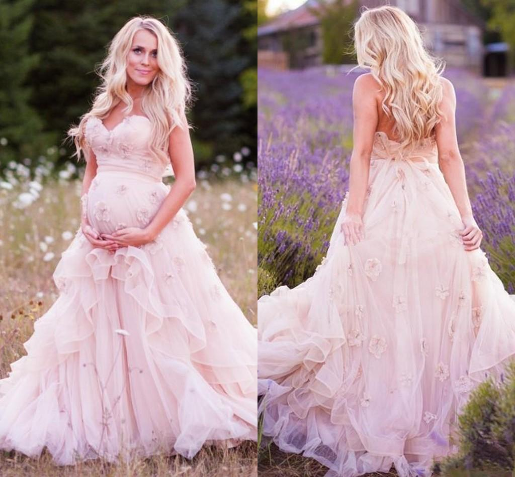 Discount 2016 new maternity a line wedding dresses sweetheart discount 2016 new maternity a line wedding dresses sweetheart handmade flowers ruffles pink tulle corset summer garden bridal gowns custom made custom made ombrellifo Gallery
