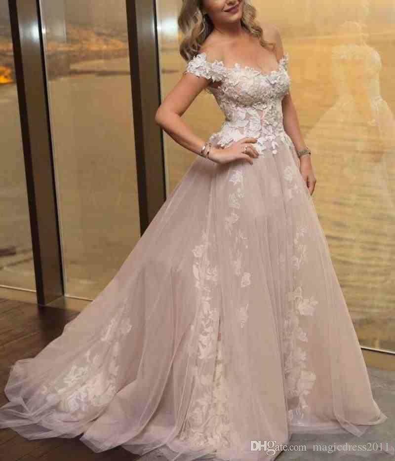 Off The Shoulder Sexy Plus Size Wedding Dresses Sweep Train Applique Beach Wedding Gown Cheap Affordable Bridal Dress