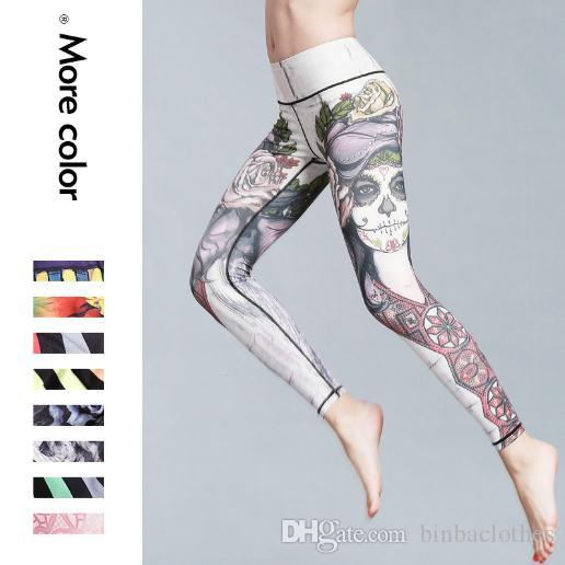 70eda52fd5 2018 Women Yoga Pants High Elastic Printing Fitness Gym Pants Air Breathing  Soft Hygroscopic Sweat Releasing Sport Pants From Binbaclothes, $14.08 |  Dhgate.