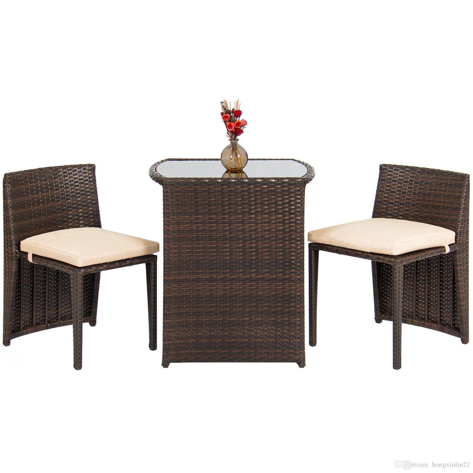 Großhandel Terrasse Möbel Wicker Bistro Set Glas Top Tisch 2 Stühle