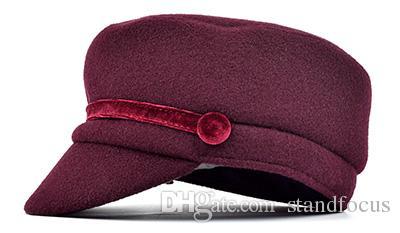 Стенд Фокус Женщины Военная Армия Кадет Hat Cap Дамы Мода Твид Осень Зима Плоский Толстый Теплый Мода Бордовый Серый Черный