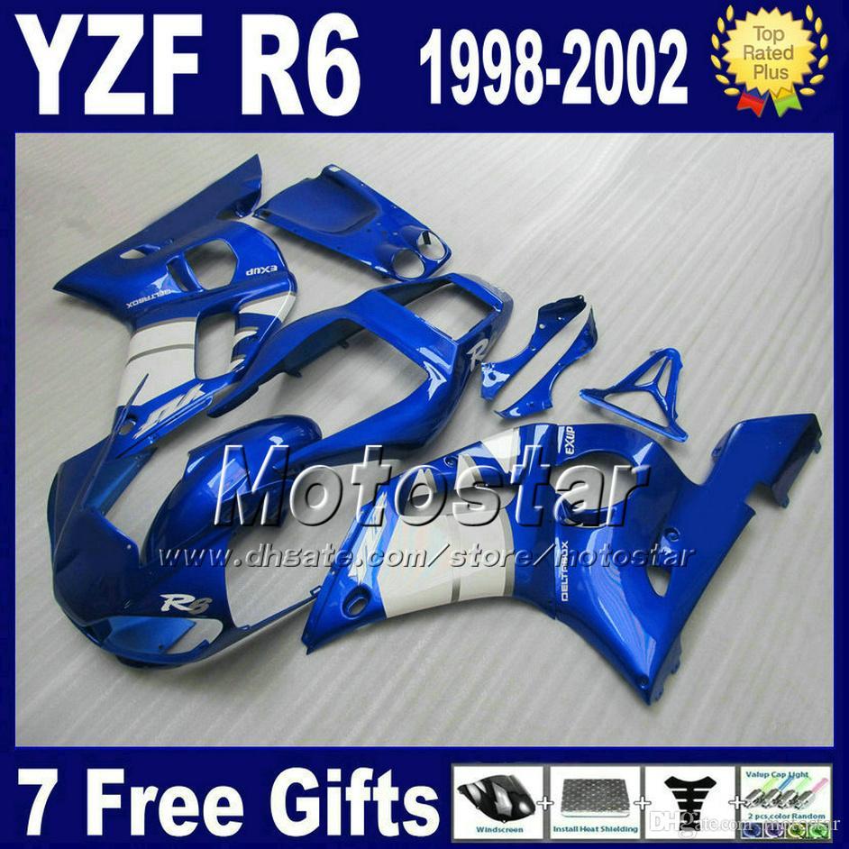 Darmowa wysyłka Wróżki Zestaw dla Yamaha YZF-R6 1998-2002 YZF 600 YZFR6 98 99 00 01 02 Blue White Fairing Ciała Zestawy VB95
