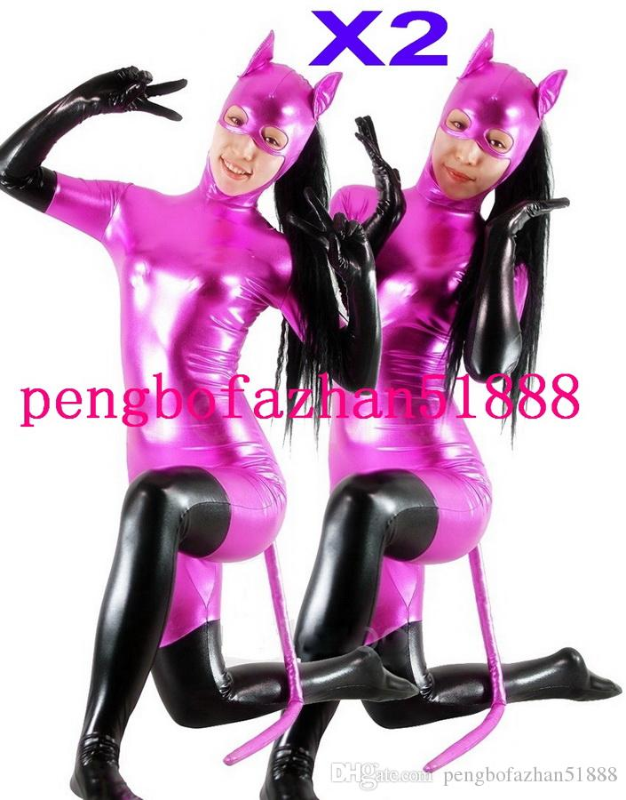 Fantasy 3 Style Shiny Lycra Metallic Animal Shape Suit Catsuit Costumes Unisex Amazing Cat Costumes Outfit Halloween Party Cosplay Suit P074