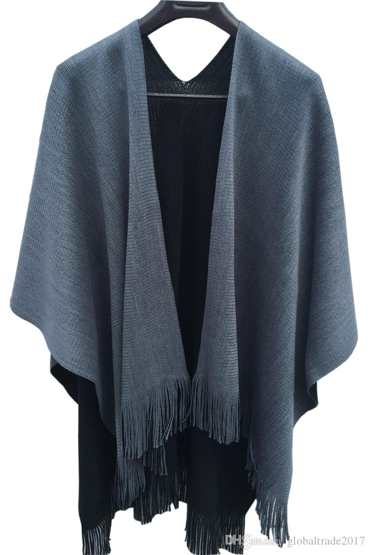 Ladies Winter Plain Reversible Thick Faux Cashmere Knitted Tassel Shawl Pashmina Outerwear Cardigan Cape Summer Air-conditioning Wrap