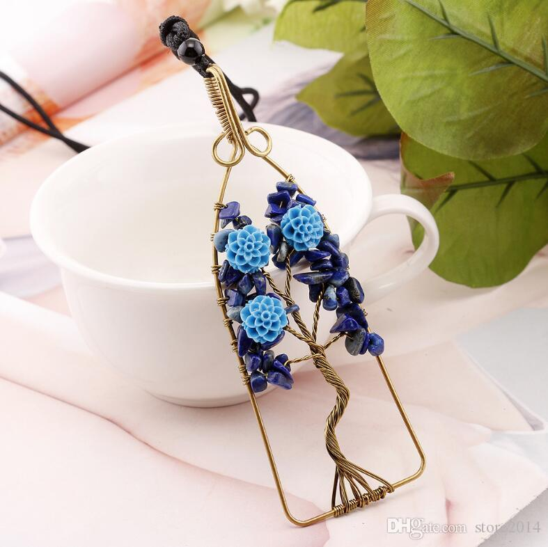 Geometric Life Of Tree Pendants Natural Stone Vintage Copper Plated Clothing Accessories European Fashion Women Mens Jewelry Reiki Amulet