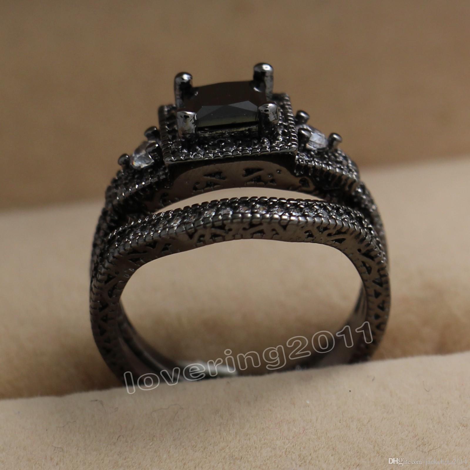 حجم 5-10 شحن مجاني ريترو مجوهرات 10kt الذهب الأسود معبأ توباز جوهرة المرأة الزفاف محاكاة الماس خاتم الزواج مجموعة هدية