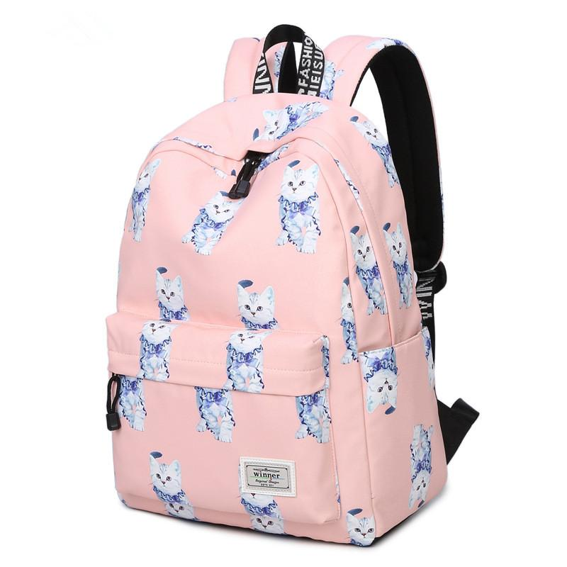 New Korean Style Female Pink Cute Cat Pattern Schoolbag Backpack Waterproof Fashionable Women School Book Bags