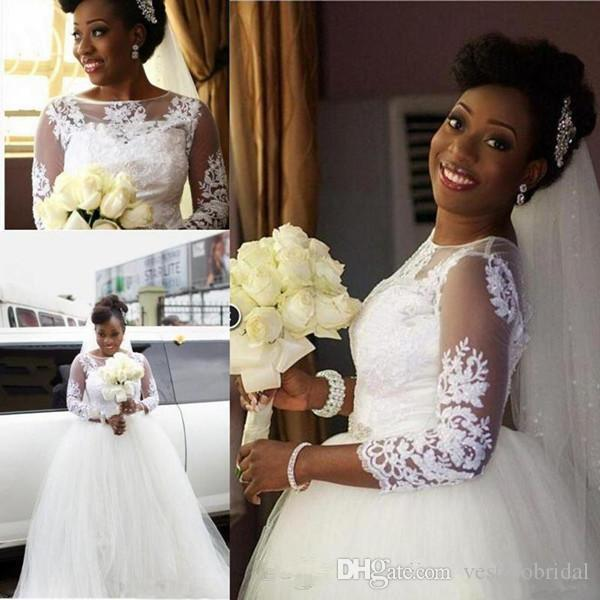 Discount 2018 South Africa Wedding Dresses A Line Jewel Lace ...